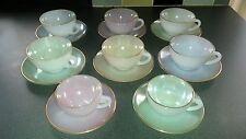 Retro Vintage Años 50 Arcopal France Arlequín opalescente Conjunto de 8 tazas y platillos.