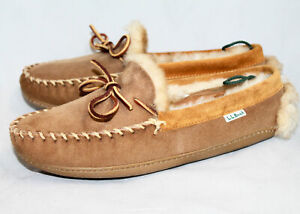 L.L. BEAN Wicked Good Shearling Lined Suede Moccasin Slipper Men 8M Chestnut