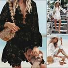 Lace Bathing Suit Cover Up Boho Beach Women Maxi Bikini Sundress Dress Summer US