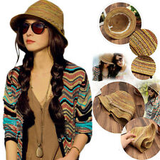 Lady Fashion Women Colorful Striped Straw Beach Summer Sun Panama Hat Foldable