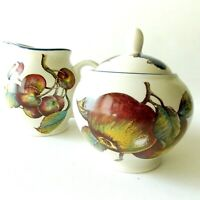 MACINTOSH BY PIER 1 CREAMER AND LIDDED SUGAR MULTICOLORED FRUITS BLACKBERRIES