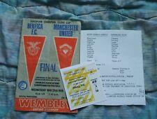 More details for 1968 european cup final benfica v manchester united prog/ticket/teamsheet