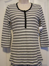 NAUTICA Waffle Stripe Henley Casual or Sleep Top Cotton/Poly Blend