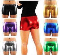 New Ladies Women Metallic Hot Lycra Wet Look Shiny Pants Shorts