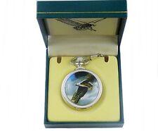 Taschenuhr mit Sprungdeckel u. Quartzuhrwerk + Geschenkbox Fliegender Adler