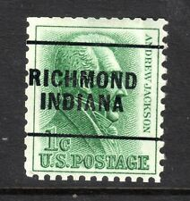 USA = PRECANCEL - `RICHMOND / INDIANA` on 1c Andrew Jackson. (dc)