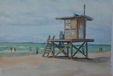 Lifeguard Tower 22 Original Watercolor Painting RAMfish Artist Newport Beach