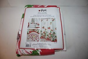 """VERA NUEMANN """"CAMELLIA"""" FABRIC SHOWER CURTAIN HIBISCUS ROSES CORAL FLORAL NEW"""