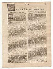1761 Jan.31, Original French Gazette #5, Boston, Gen. Amherst, Dead of Boscawen