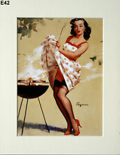 "Gil Elvgren Mounted Print  E42 - Pin-Up Art - Stockings   SIZE  14"" X 11"""