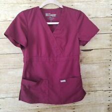 Greys Anatomy Scrub Top Womens XS Deep Purple Plum Mock Wrap Medical Uniform