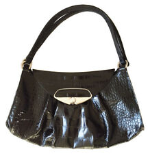 FURLA Genuine Leather Black Faux Croc /Alligator Embossed Texture Shoulder Bag