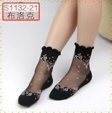 Women Crystal Lace Glass Silk Ladies Short Black Thin Transparent Socks
