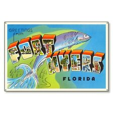 Fort Myers Florida fl Travel Postcard Metal Sign Wall Decor STEEL not tin 36x24