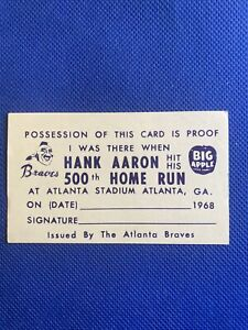 68' Atlanta Braves I was There When Hank Aaron Hit his 500th Home Run Card