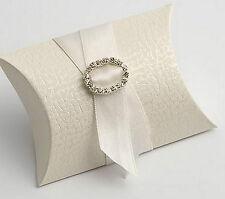 100 ANTIQUE WHITE PELLE BUSTINA/PILLOW FAVOUR FAVOR BOXES GIFT BOX