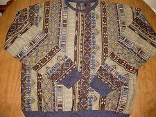 TSR blue trim outrageous 1980s crewneck sweater XL earth tones Cosby warm tans
