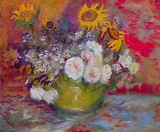 """Vincent Willem Van Gogh - Roses and Sunflowers- 20""""x26""""  Canvas Art Print"""