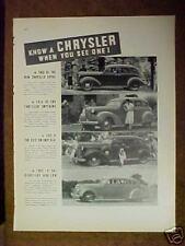 1937 Chrysler Imperial Airflow Car Auntomotive Memorabila Art Promo Print Ad