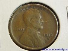 1913-S Lincoln Wheat Penny, Cent, S over S machine doubling error, Fine