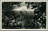 RPPC Postcard Mt Shasta CA in the spring flowers blooming J.H.Eastman Unposted