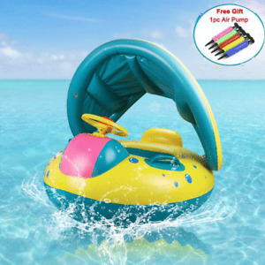Kids Inflatable Swimming Boat Seat with Sunshade Baby Swim Float Ring for Pool