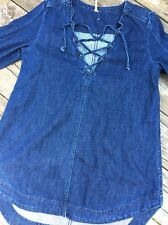 NWOT!!!  Free People Blue Denim Lace Up Tunic/Dress Size S