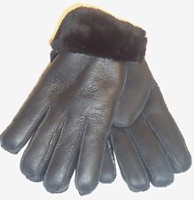 Women's Handmade Winter Genuine Black Sheepskin Leather Shearling Fur Gloves  M