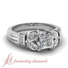 Princess Cut Diamond Rings For Women In 14K White Gold GIA Certified 1.25 Carat
