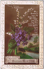 Many Happy Returns of your Birthday Sister -  Vintage Postcard - Floral Design