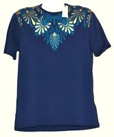 Versace  Collection Blue Gold Logo Design Men's Cotton Shirt T-Shirt Size XL NEW