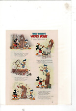 VINTAGE WALT DISNEY'S MICKEY MOUSE DONALD DUCK CLOCK CLEANERS AD PRINT E789