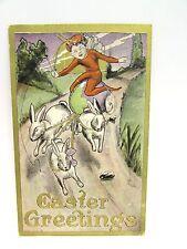 ANTIQUE 1900s POSTCARD EASTER RED FAIRY RABBIT PULLING EGG WAGON GLITTER TRIM 66