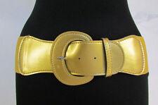 Women Gold Silver Elastic Waistband Fashion Belt Wide Hip High Waist Size S M