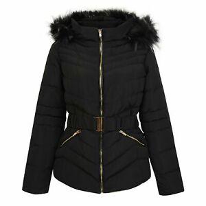 New Ladies Designer Jess Petra Fur Trim Padded Hooded Down Jacket, Women's Coat