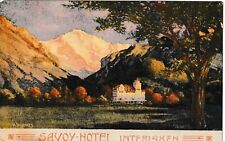 Vintage 1910 Savoy Hotel Interlaken Switzerland Europe Postcard