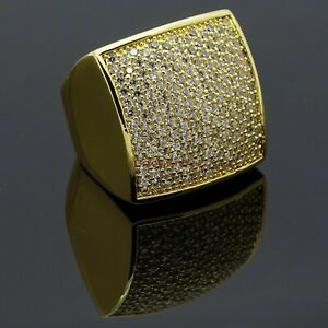 Natural Cubic Zircon Stone Gold Plated 925 Sterling Silver Statement Ring EG794