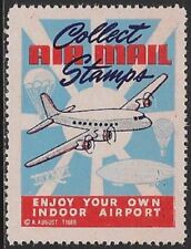 USA Philatelic Cinderella: 1940s Collect Airmail Stamps, Indoor Airport - dw929e