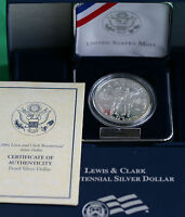 2004 Lewis & Clark Bicentennial PROOF 90% Silver Dollar US Mint Coin Box and COA