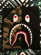 BAPE SHARK HOODY FULL ZIP IN BLACK WITH CAMO WGM OG A BATHING APE SIZE S RARE