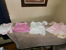 Handmade Doll Clothes Lot Pinafore Silk Romper w/ Bonnet Groovy Hearts Vintage