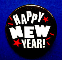 Hallmark BUTTON PIN New Years Vintage HAPPY STARS B&W RED Holiday Pinback