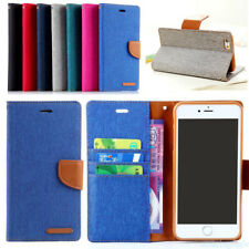Luxury For Apple iPhone 5S 6S 7 8 PLUS Demin Leather Flip Wallet Case Cover NP