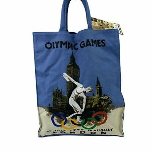 London 1948 Olympic Games Reusable Medium Tote Canvas Bag Retro 2012 Throwback