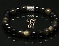 Obsidian Armband Bracelet Perlenarmband schwarz 8mm
