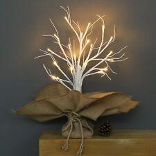 40CM INDOOR BATTERY PRE LIT WEDDING DECOR HESSIAN BIRCH TWIG TREE 20 LED LIGHT