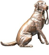 More details for labrador with lead medium solid bronze sculpture dog gift 1122