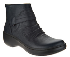 Clarks Leather Lightweight Ankle Boots - Delana Fairlee Navy Blue Women's 6 New