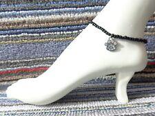 PAW print Rhinestone dog cat bear charm ankle bracelet beads silver stretchy