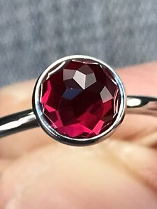 925 sterling silver Pandora droplet Ruby July stone Ring